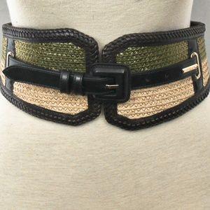Burberry Prorsum Italian Made Leather & Straw Belt